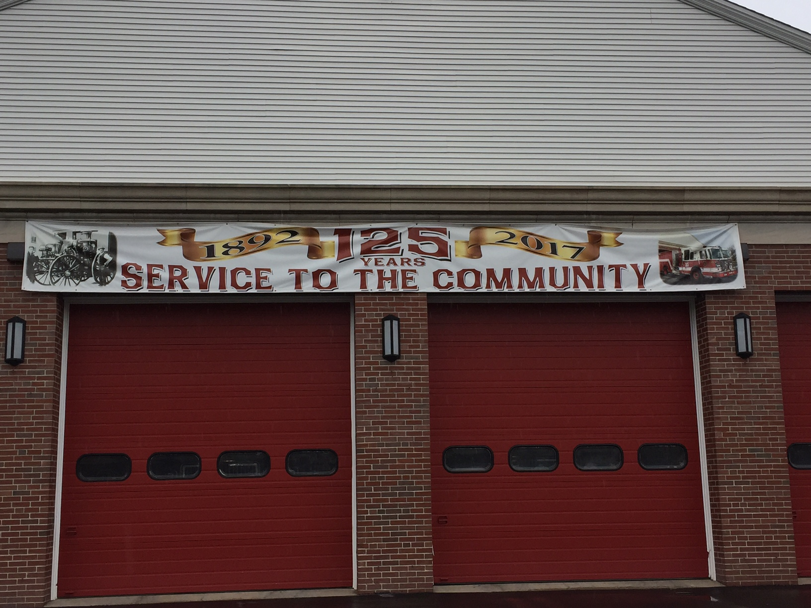 Hazardville Fire Department's 125th Anniversary banner. Enfield, CT